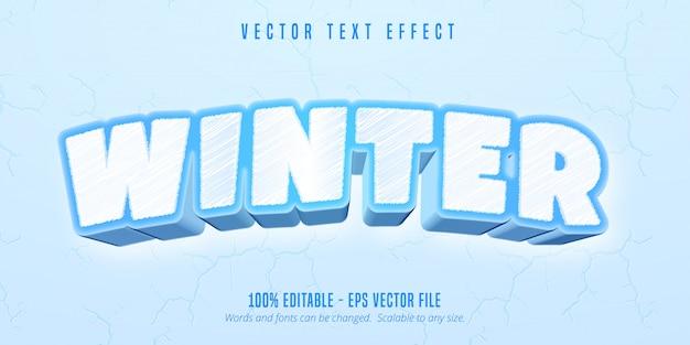 Tekst zimowy, edytowalny efekt tekstowy w stylu gry kreskówki