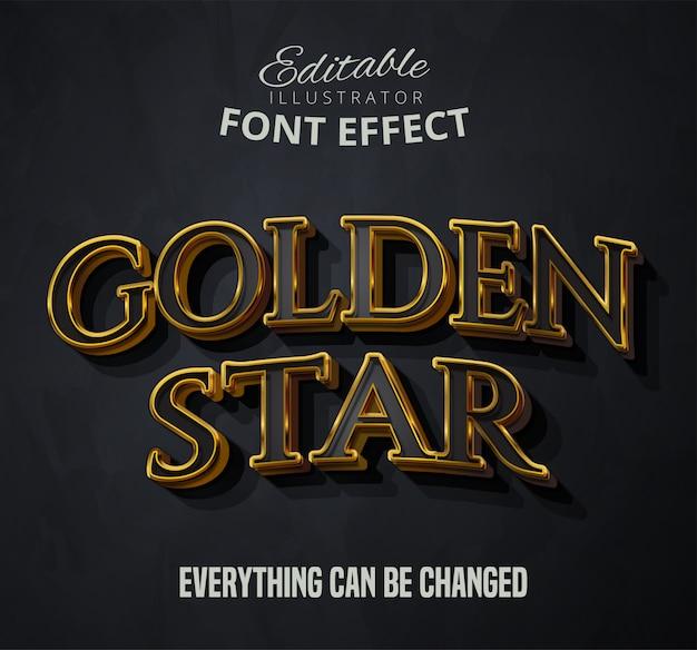 Tekst złotej gwiazdy, efekt czcionki edytowalnej