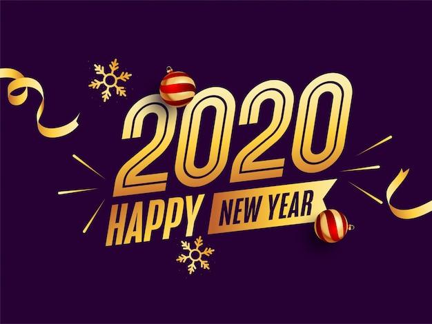 Tekst złoty szczęśliwego nowego roku 2020 z bombkami i błyszczące płatki śniegu na fioletowym tle.