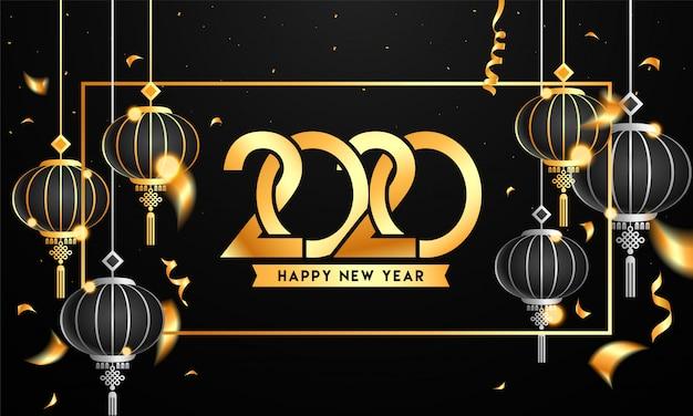Tekst złoty szczęśliwego nowego roku 2020 z wiszące lampiony i wstążki