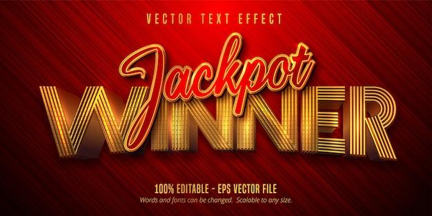 Tekst zwycięzcy jackpota, błyszczący, edytowalny efekt tekstowy w stylu złotym i czerwonym