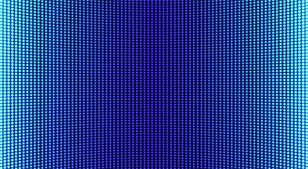 Tekstura ekranu led. cyfrowy wyświetlacz pikseli. monitor lcd z kropkami. szablon siatki projektora. efekt diody elektronicznej. poziome tło telewizyjne. niebieska ściana wideo z żarówkami. ilustracja wektorowa.