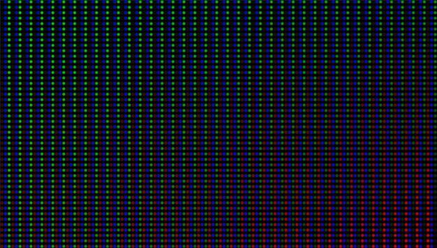 Tekstura ekranu led. monitor lcd. analogowy wyświetlacz cyfrowy. efekt diody elektronicznej. ściana wideo telewizji kolorowej. szablon siatki projektora. pixeled tło z żarówkami. ilustracja wektorowa.