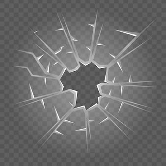 Tekstura potłuczonego szkła. na białym tle realistyczny efekt pękniętego szkła