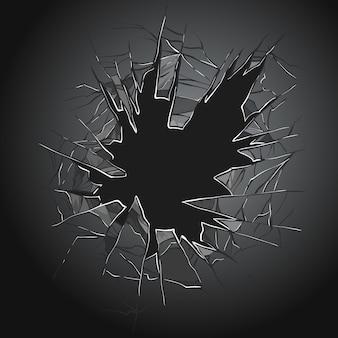 Tekstura realistycznej dziury zniszczenia w przezroczystym uszkodzonym szkle