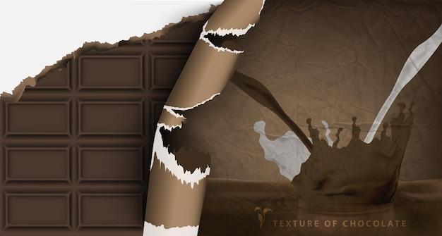 Tekstura tabliczki białej, mlecznej i ciemnej czekolady ze złamanymi końcami