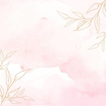 Tekstura tło akwarela miękki różowy i złoty.