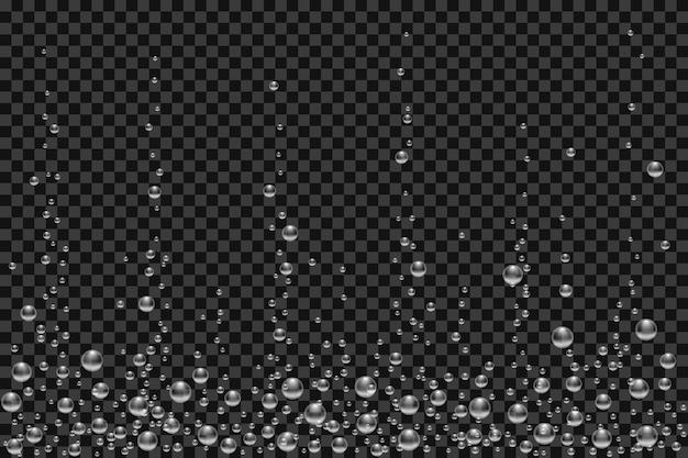 Tekstura wektor podwodne pęcherzyki powietrza na białym tle na czarnym przezroczystym tle. białe musujące bąbelki w akwarium, szampanie lub napoju musującym. 3d przezroczyste realistyczne pęcherzyki gazu tlenu.