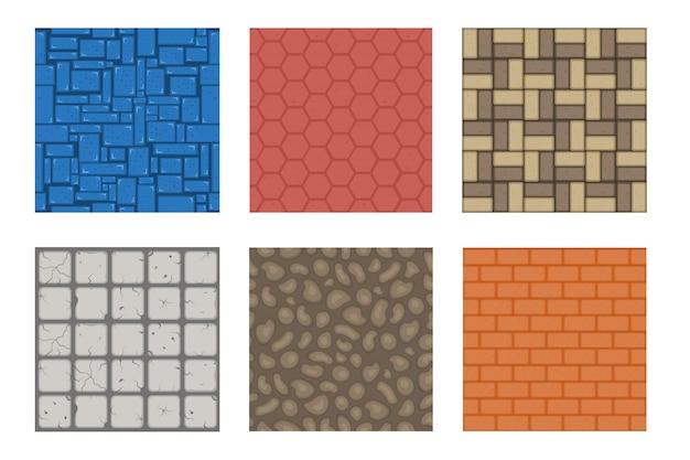 Teksturowana powierzchnia cegły do gry, lód, cegły, piaszczysta pustynia i brud gruntu dla zestawu projektowego na poziomie gry. cartoon różnych materiałów i tekstur podłoża,.