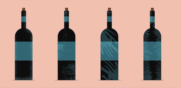 Teksturowane butelki na wino