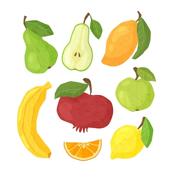 Teksturowane owoce - gruszka, jabłko, mango, banan, cytryna i pomarańcza, granaty, pojedyncze elementy