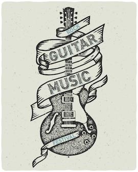 Teksturowany plakat ze starą gitarą