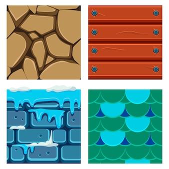 Tekstury do platformówki zestaw drewna, łusek i cegieł