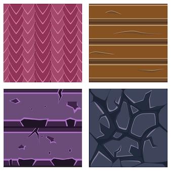 Tekstury do platformówki zestaw kamienia, drewna i klejnotów