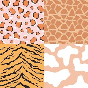 Tekstury skóry zwierząt, zestaw ilustracji wektorowych bez szwu wzorów skóry