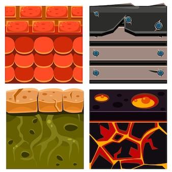 Tekstury zestawów platformówek z deskami, skalą i klockami