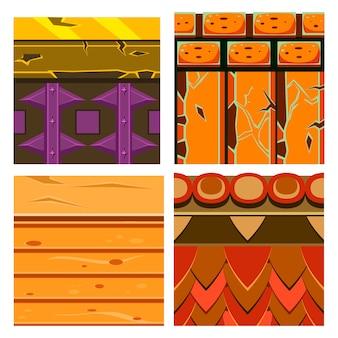 Tekstury zestawów platformówek z drewnem i cegłami