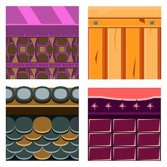 Tekstury zestawów platformówek z drewnianymi deskami i skalą