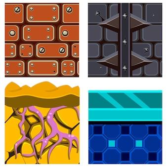 Tekstury zestawów platformówek z korzeniami, lodem i cegłami
