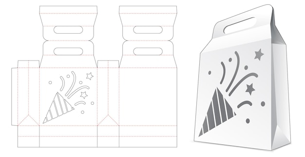 Tekturowa torba na zakupy z szablonem konfetti wycinanym szablonem