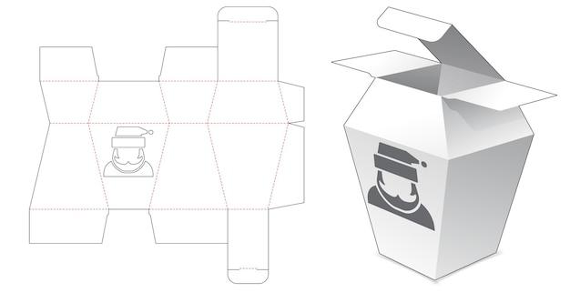 Tekturowe pudełko trapezowe z wykrojonym szablonem świętego mikołaja