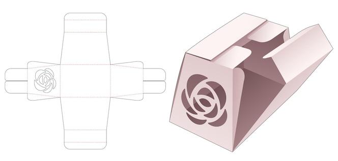 Tekturowe pudełko z długim obeliskiem z szablonem wykrojnika z rozetą i środkowym punktem otwarcia