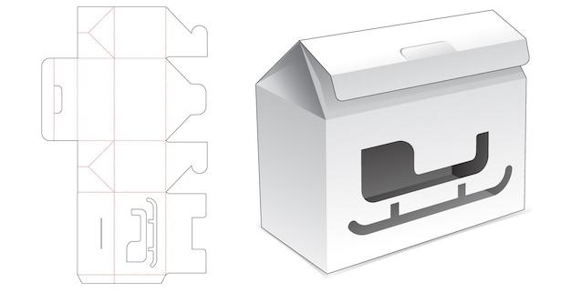 Tekturowe pudełko z klapką z szablonem wycinanym w oknie sań