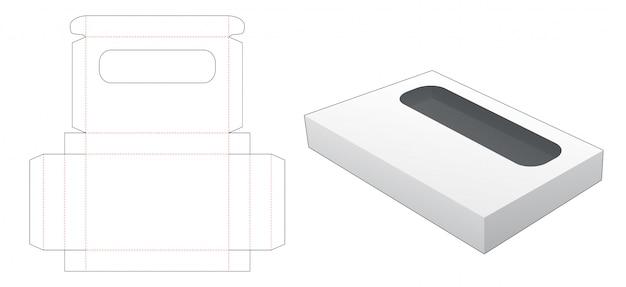 Tekturowe pudełko z szablonem wycinanym w prostokątne okno