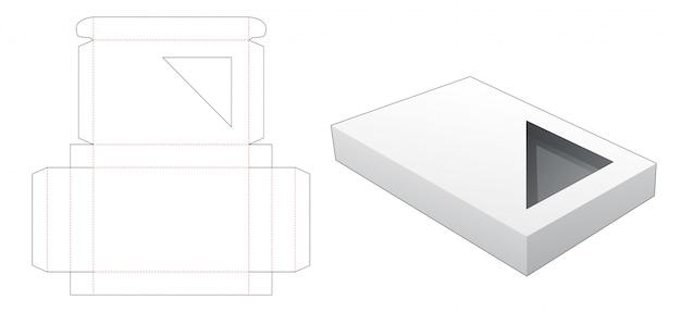 Tekturowe pudełko z szablonem wycinanym w trójkątne okno