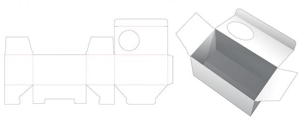 Tekturowe pudełko z wykrojonym szablonem okna w kształcie koła