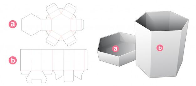 Tekturowe sześciokątne pudełko i szablon do wycinania wieczek