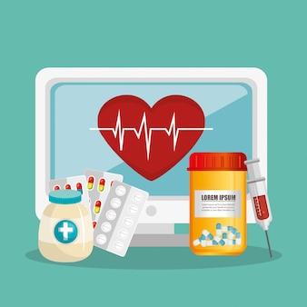 Tele-medycyna online z komputerem stacjonarnym