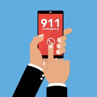 Telefon alarmowy 911 na smartfonie mobilnym