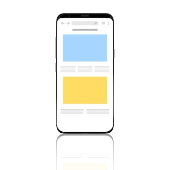 Telefon jest wyświetlany z przeglądarką na ekranie.