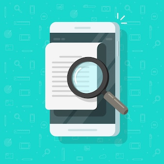 Telefon komórkowy analizowanie dokumentu lub pliku tekstowego dokumentu wyszukiwania mieszkanie kreskówka
