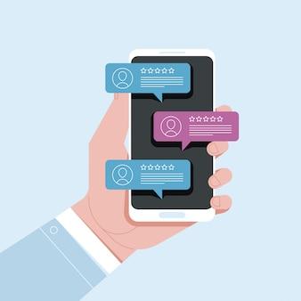 Telefon komórkowy czatu wiadomości powiadomień ręka z smartphone z gadką w goniec ilustraci