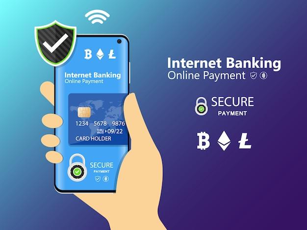 Telefon komórkowy i bankowość internetowa. transakcja bezpieczeństwa płatności online za pomocą karty kredytowej. ochrona zakupów bezprzewodowo płacić za pośrednictwem smartfona. płatność za transfer technologii cyfrowej.