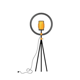 Telefon komórkowy i lampa pierścieniowa na statywie do nagrywania filmów na białym tle. ilustracja wektorowa.