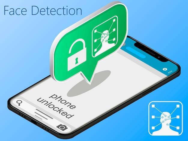 Telefon komórkowy jest odblokowywany za pomocą identyfikacji twarzy, koncepcji bezpieczeństwa smartfona.
