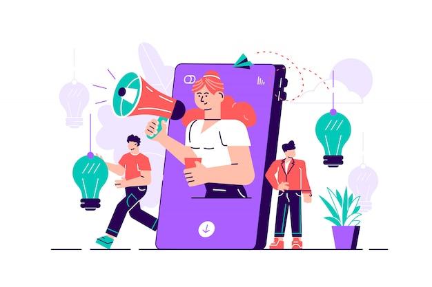 Telefon komórkowy, kobieta z megafonem na ekranie i otaczający ją młodzi ludzie. wpływ na marketing, media społecznościowe lub promocję sieci, smm. płaskie ilustracja do reklamy internetowej.