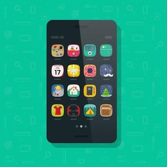 Telefon komórkowy lub telefon komórkowy z ikonami aplikacji na ekranie płaski kreskówka