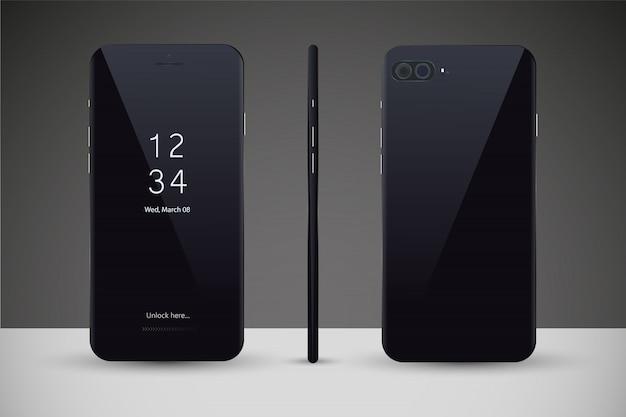 Telefon komórkowy na białym tle z pustym ekranem