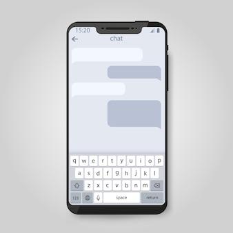Telefon komórkowy. sieć społecznościowa, czapki komunikacyjne komunikatora i koncepcja wiadomości.