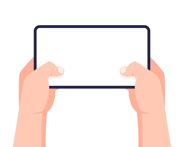 Telefon komórkowy w rękach. dwie ręce trzymając smartfon i dotykając ekranu.
