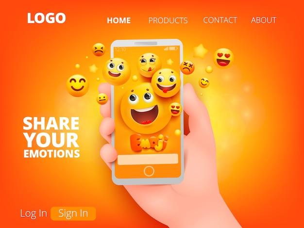 Telefon komórkowy w stylu cartoon na żółtym tle. ręka trzyma smartfona. żółty emoji uśmiech twarz postaci w różnych emocjach