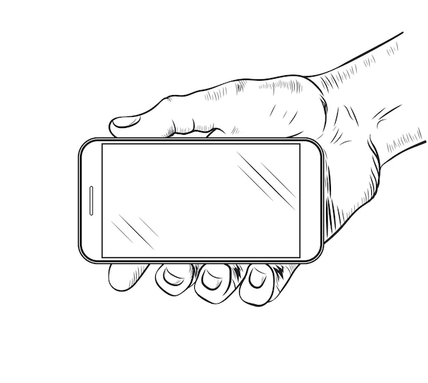 Telefon komórkowy w widoku z przodu strony. szkic ludzkiej dłoni, która trzyma pusty smartfon.