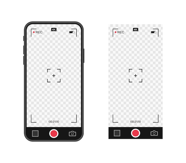 Telefon komórkowy z aparatem do zapisu zdjęć. szablon wizjera. ramka nagrywania wideo w rozdzielczości 4k. ekran nagrywania wideo.