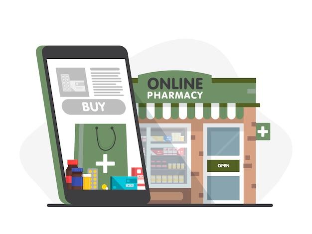 Telefon komórkowy z aplikacją do zakupów w aptece internetowej. fasada sklepu aptecznego.