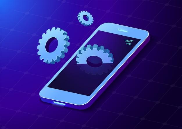 Telefon komórkowy z biegami. koła zębate wychodzą z ekranu. styl izometryczny. ilustracja.