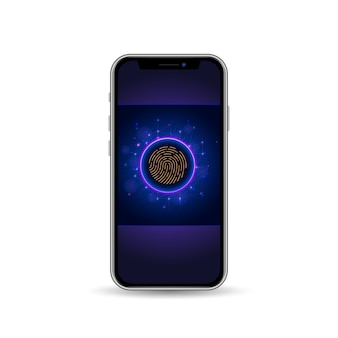 Telefon komórkowy z ekranem blokady i czytnikiem linii papilarnych do weryfikacji